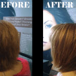 Quick styling: Before was when she walked in having experienced a morning of humidity. We applied a small amount of Simply Smooth Humidity Blocker, and flat ironed quickly. The ends were completely transformed.