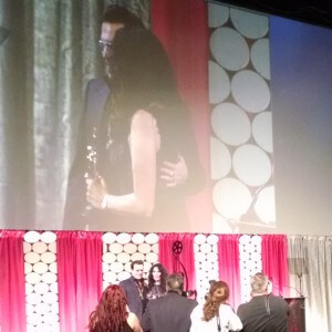 Johnny Depp and Hairstylist Lifetime Achievement Award Recipient, Yolanda Touissieng at 2016 MUAHS!